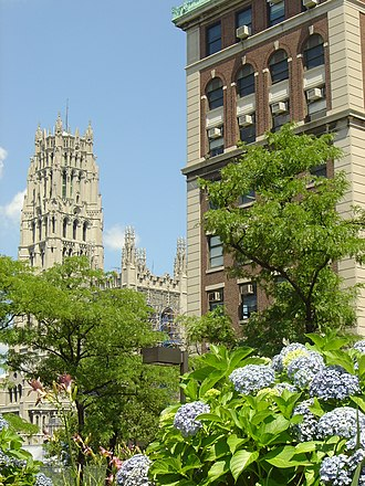 Pupin Hall (right), Union Theological Seminary (center) Riverside Church (left) Riverside Church from Columbia University.jpg