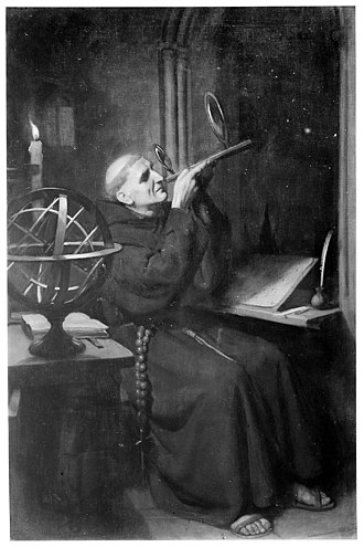 Roger Bacon - Ernest Board's portrayal of Bacon in his observatory at Merton College