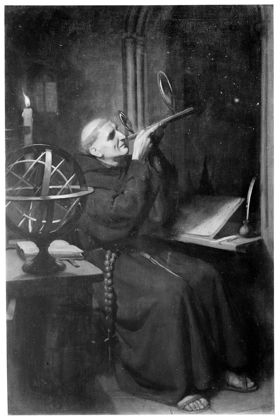 Roger Bacon in his observatory at Merton College, Oxford. Oi Wellcome M0001840