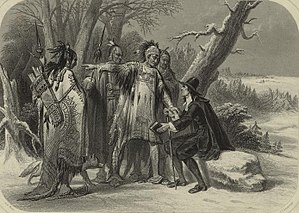 Narragansett people - Roger Williams and the Narragansetts - a 19th-century engraving, after a painting by A. H. Wray