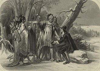 Narragansett people - Roger Williams and the Narragansetts, a 19th-century engraving after a painting by A. H. Wray