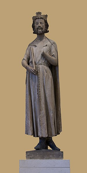 Timeline of Paris - A 13th century statue of Childebert I, founder of the future Abbey of Saint-Germain-des-Prés (The Louvre)
