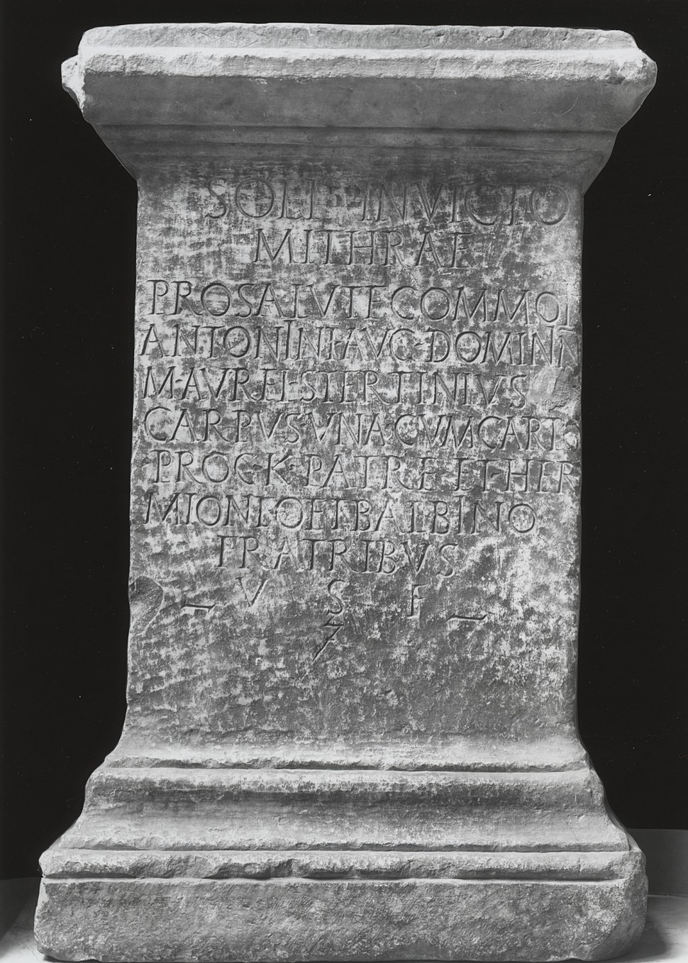 Roman - Funeral Stele with Latin Inscription Referring To Mithra - Walters 2317