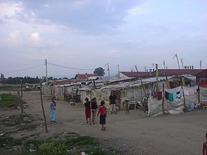 Romani people in Kosovo - Refugee camp of Kosovar Romani in southern Central Serbia, close to Kosovo