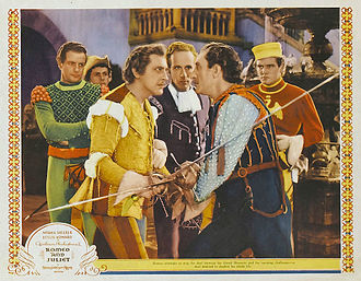 Romeo and Juliet (1936 film) - John Barrymore, Leslie Howard and Basil Rathbone from a lobby card.