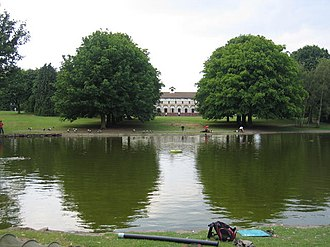 Bournville - Rowheath lake with pavilion in the background