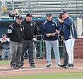 Russ Chandler Stadium Coach ump meeting (12547162993).jpg