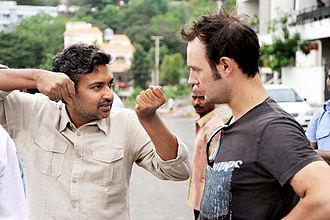 Eega - Rajamouli and Draper on the set