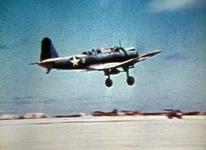 Vought SB2U Vindicator - SB2U-3 of VMSB-241, MAG-21, takes off from Eastern Island shortly before the Battle of Midway.