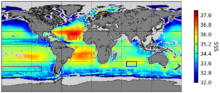 Global salinity map (Aug.–Sept. 2010 & 2011) produced by the ESA's Soil Moisture and Ocean Salinity satellite. Released 2012.