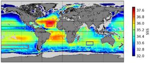 Mapa global de salinidade (agosto – setembro, 2010 e 2011) produzido pelo satélite SMOS, da Agência Espacial Europeia, e lançado em 2012.
