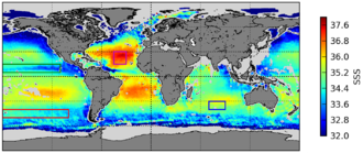 Soil Moisture and Ocean Salinity - The first global map of oceanic surface salinity, produced by the SMOS satellite. The salinity varies from 32‰ (deep purple) to 38‰ (bright red).