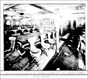 SS Koombana - Koombana 's first class dining room, ca. March 1909.
