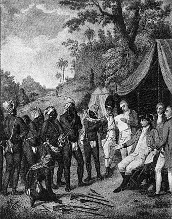 Depiction of the 1773 treaty negotiations between the British and the Black Caribs SaintVincent Carib Treaty Negotiation 1773.jpg