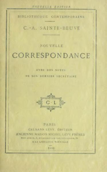 File:Sainte-Beuve - Nouvelle Correspondance, 1880.djvu