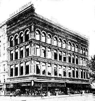 Saks and Co.'s new store, Washington D.C. 1887. Demolished. Saks and Co., Washington D.C. 1897.jpg