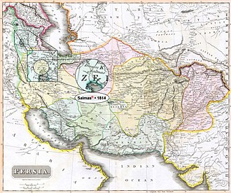 """Salmas - Salmas in 1814 Thomson Map of the """"Persian Empire"""" at the Time of Qajar Dynasty • Modified by Hassan Jahangiri"""