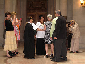 Same-sex marriage in the United States - Civil same-sex marriage ceremony being performed in San Francisco City Hall in June 2008.