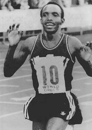 Samson Kimobwa - Kimombwa setting the world 10000 m record in 1977