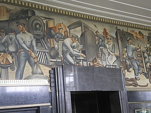United States Post Office (San Pedro, California) - WPA-era mural of mail carriers at San Pedro Post Office