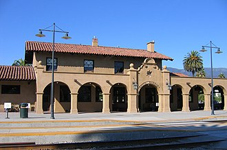 Mission Revival architecture - Santa Barbara Station, built in 1902 in Santa Barbara, California, a railroad depot example of the Mission Revival Style