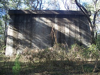 U.S. Route 441 in Florida - A surviving support for a never-completed bridge that was part of the Cross Florida Barge Canal project, in the US 441 median in Santos.