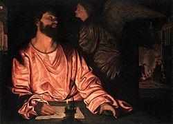 Portrait d'un homme écrivant et regardant un ange qui s'approche de lui.
