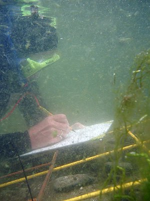 Underwater archaeology - Drawing to scale, underwater