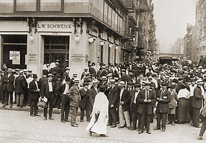 "Bank failure - Depositors ""run"" on a failing New York City bank in an effort to recover their money, July 1914."