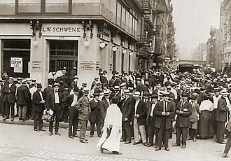 "Bank failure - Depositors ""run"" on a failing New York City bank in an effort to recover their money, July 1914"