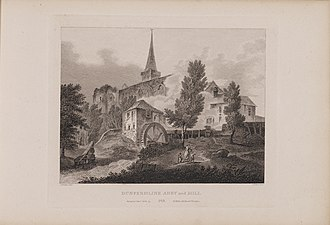 Dunfermline Abbey - Engraving of Dunfermline Abbey and Mill by James Fittler in Scotia Depicta