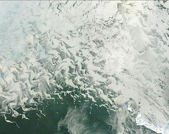 Sea ice - Satellite image of sea ice forming near St. Matthew Island in the Bering Sea.