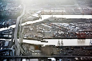 Harbor Island, Seattle - Aerial view of Harbor Island and the West Seattle Freeway from the northeast