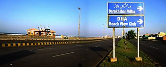 Defence Housing Authority, Karachi - A panorama of Seaview Road