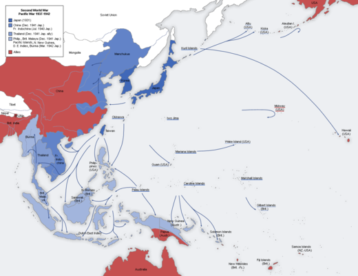 A map of the Japanese advance from 1937 to 1942 Second world war asia 1937-1942 map en6.png