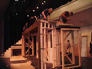 Set construction - Carpenters work on constructing the set