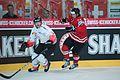 Severin Blindenbacher (L), Jamie Benn (R) - Switzerland vs. Canada, 29th April 2012.jpg