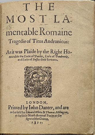 Edward White (printer) - Title page of the first quarto of Titus Andronicus, to be sold by Edward White at the Sign of the Gun