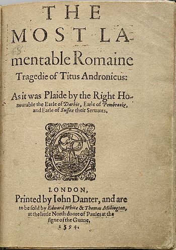 English: Title page of the first quarto of Tit...