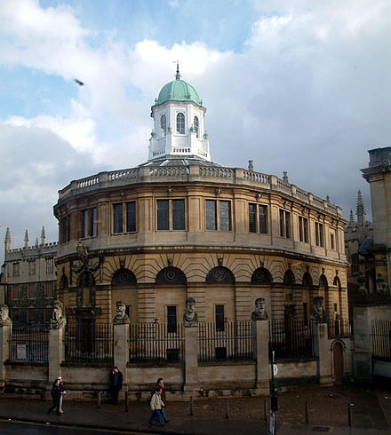 The Sheldonian Theatre, built by Sir Christopher Wren between 1664 and 1668, hosts the university's Congregation, as well as concerts and degree ceremonies. Sheldonian Theatre Oxford.jpg