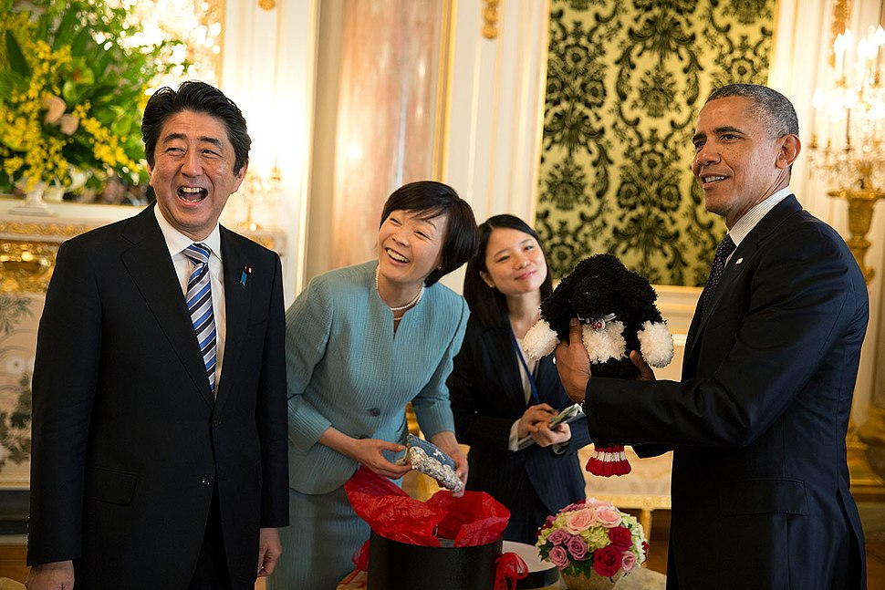 Shinzo Abe with Barack Obama laughing, April 2014