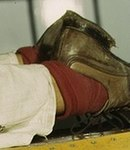 Shoe detail, Oyida Peaks riveting as part of her NYA training to become a mechanic 1a34886v (cropped).jpg