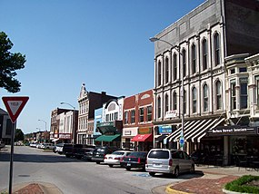 Shops along Fountain Square in Bowling Green, Kentucky 2008.JPG