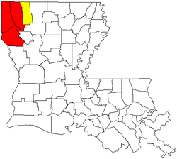 Map of Louisiana highlighting the Shreveport-Bossier City-Minden Combined Statistical Area