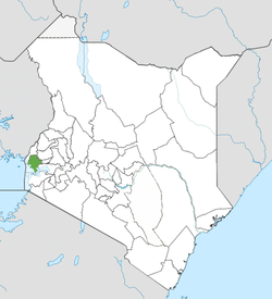 Location of Siaya County (Green)