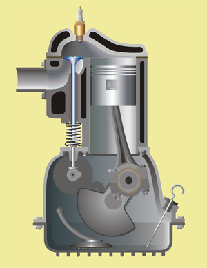 Combustion chamber - Side-valve engine showing combustion chamber