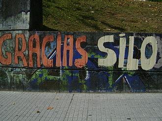 """Mario Rodríguez Cobos - """"Thanks Silo"""". Graffiti in A Coruña, Spain supporting Silo."""