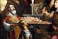 Simone da poggibonsi, madonna col bambino, santi e il beato pietro gargallini, 1581, 03 alberto da chiatina con modellino della città di colle.jpg