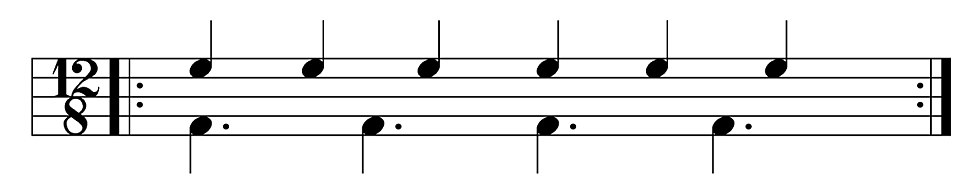Six against four cross-rhythm represented as six quarter notes of four dotted quarter notes