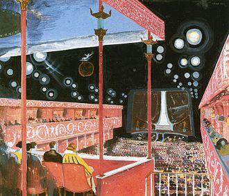 Gunnar Asplunds interiørskitser af salonen 1922.   Vy fra den bagerste loge (t.v.) og vy fra scenen.